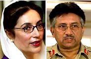 L'ex premier Bhutto, sulla sinistra e il generale Musharraf,adestra